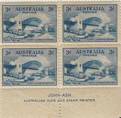 1932 SYDNEY HARBOUR BRIDGE  Mint Block of 4 Stamps with Margin Imprint,JOHN ASH