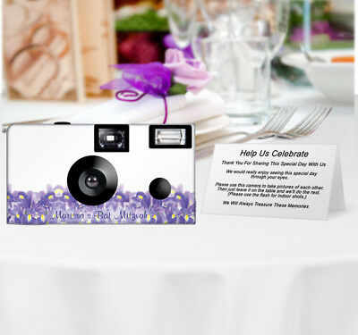 20 Blue Iris Disposable Cameras-PERSONALIZE-wedding/anniversary/party favor