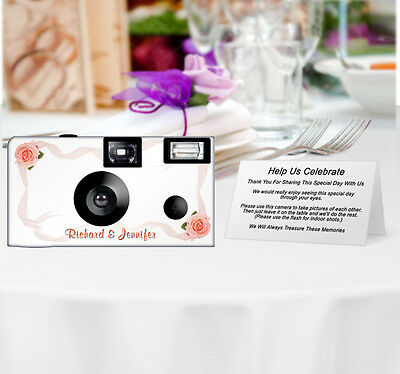 20 Roses & Ribbons Disposable Cameras-PERSONALIZE-wedding camera/anniversary