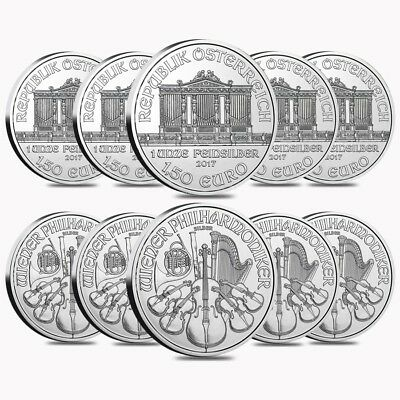 Lot of 10 - 2017 1 oz Austrian Silver Philharmonic Coin BU