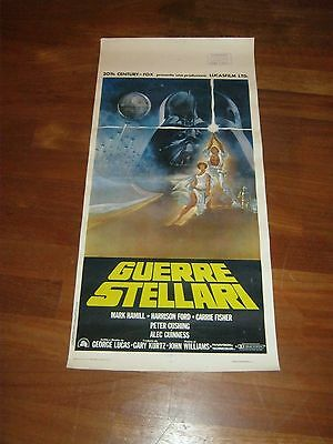 LOCANDINA,1977,GUERRE STELLARI STAR WARS,FIRST EDITION,Hamill,Lucas,Ford,Cushing