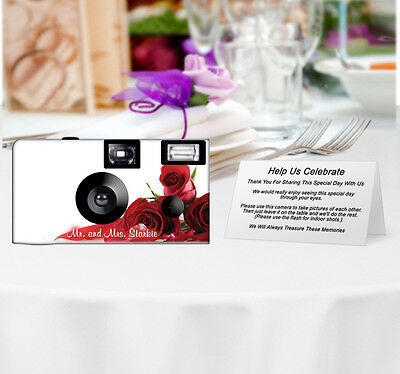 20 Roses 'n' Diamonds Disposable Cameras-PERSONALIZE-wedding camera/anniversary