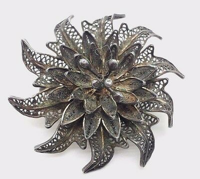 Antique Fine 3D Filigree Flower Sterling Silver 925 Brooch 11g BCB76