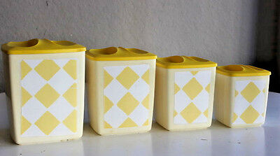 Set of 4 Vintage Kitchen Plastic Canisters Container Set Flour Sugar Coffee Tea