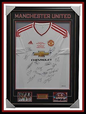 Manchester United Signed 2016 FA Cup Champions White Team Jersey Framed Rooney