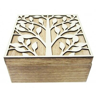 TREE OF LIFE Wooden Box Natural Square Rustic Tree 15cm x 15cm Trinket Jewellery
