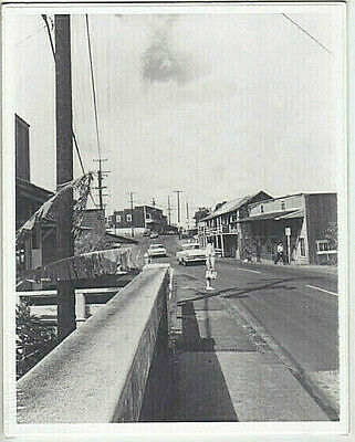 RARE SOUTH KAM HIGHWAY HALEIWA 1960's OAHU SILVER HALIDE PHOTO ON 8X10 INCH MAT