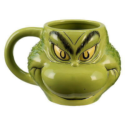 Dr. Seuss How The Grinch Stole Christmas Grinch Sculpted Face 18 oz Ceramic Mug