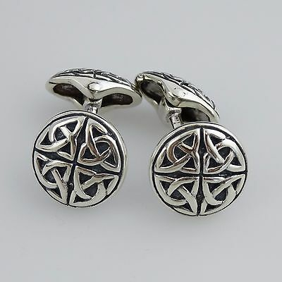 Celtic Cufflinks - 925 Sterling Silver - Trinity Knot Triquetra Men's Cuff Links