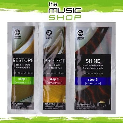 Planet Waves 3-Step Guitar Cleaning Express Pack - Polish, Wax & Cloth - PW-PK