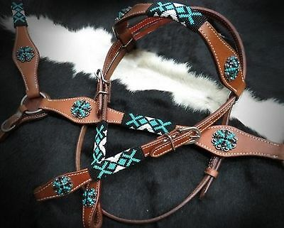 Showman LIMITED EDITION  TEAL & BLACK Beaded Bridle and Breast Collar Set! TACK