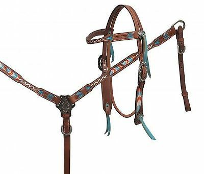 Showman TEAL & ORANGE Painted Feather and Arrow Bridle and Breast Collar Set!