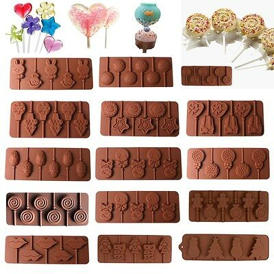 Snowflake Lollipop Cake Mold Flexible Silicone Mould For Candy Chocolate+Sticks