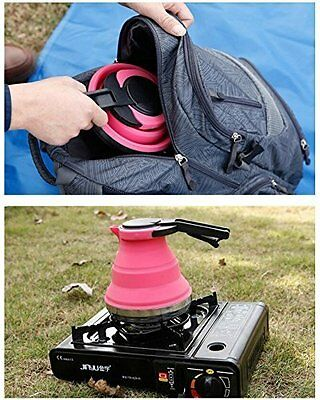 1.5L Collapsible Water Tea Kettle Stainless Steel Base Kitchen/Camping/Hiking OZ