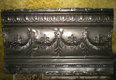 Antique Victorian Ceiling Tin Tile Fleur De Li Swag Flowers Leaves Shaby Chic