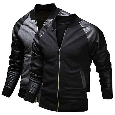 New Mens Fashion Casual Bomber Jacket Warm Winter Baseball Coat Slim Fit Outwear