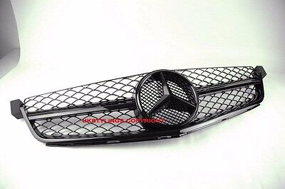 MERCEDES BENZ W204 C63 AMG ONLY GRILLE 2008-2011 GLOSSY BLACK MESH Glossy #2