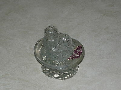 1930s 40s Bohemia Crystal TOP HAT CRUET SET Salt & Pepper Shakers w/ Sticker