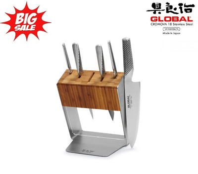 Genuine Global Katana 6pc Knife Block Set (Made in Japan) RRP $779 CroMoVa 18