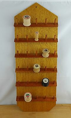 Vintage Wooden Cotton Spool / Sewing Thread Reel Wall Hanging Organzier Display