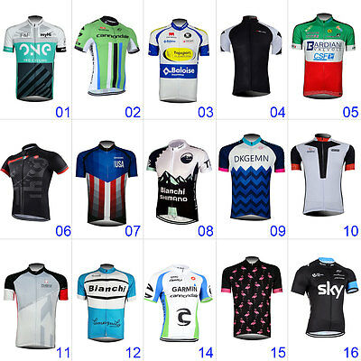 New Mens Cycling Bike Gear Bicycle Short Sleeve Riding Jerseys Tops Polyester