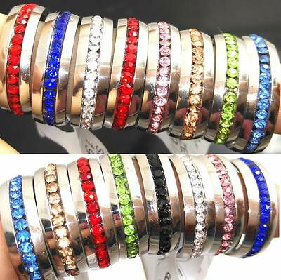 50x Comfort-fit Color Mix Rhinestone Stainless Steel CZ Rings Wholesale Jewelry