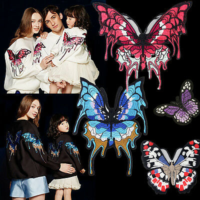 27CM Large Pink Butterfly Embroidery Sew On Patch Badge Jacket Fabric Applique