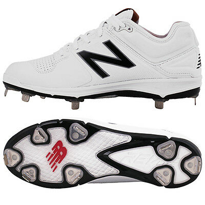 New Balance Baseball Shoes Metal Spike Cleats White/Black L3000 SW3