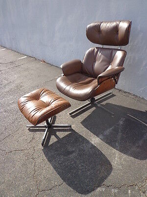 Mid Century Modern MCM Eames Inspired Lounge Chair Armchair Ottoman Footrest
