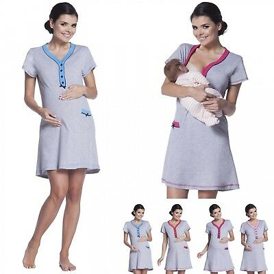 Zeta Ville - Women's Maternity Nursing Nightdress Breastfeeding Nightie - 390c
