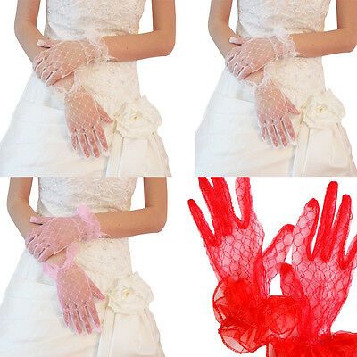 Women Ladies Bride Wedding Accessories Bridal Gloves Lace Short Finger Gloves