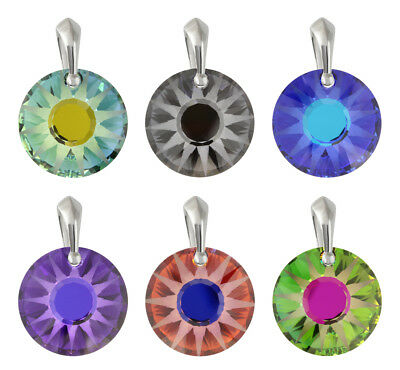 Sterling Silver Sun Pendants made with 6724 19mm Frosted Swarovski® Crystals