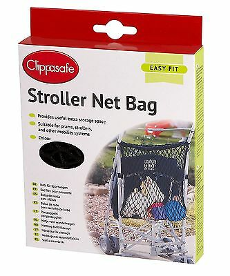 Clippasafe Baby Stroller/pushchair Net Storage Bag - Black - New