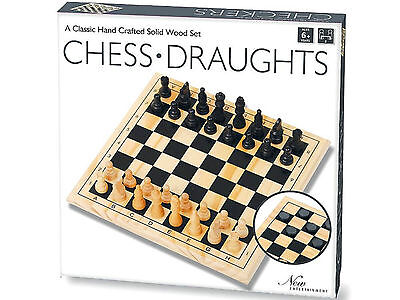 Hand Crafted Solid Wood Chess Draughts Set