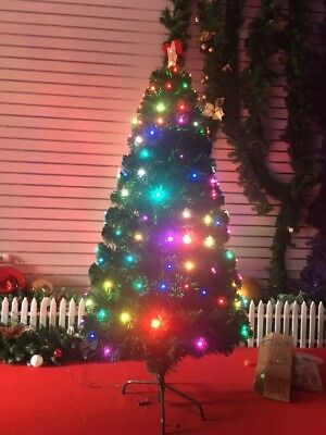 LED Christmas Tree Pre-lit Lights Artificial Green Xmas Baubles with Stand 6f
