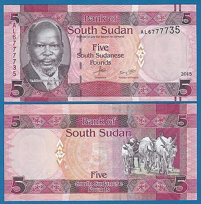 South Sudan 5 Pounds P New 2015 (2016) UNC Low Shipping! Combine FREE!