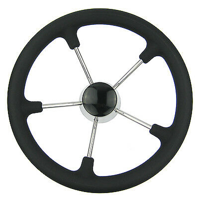 13-1/2 Inch Marine Steering Wheel Destroyer 5 Spoke With Black Foam Grip - Boat