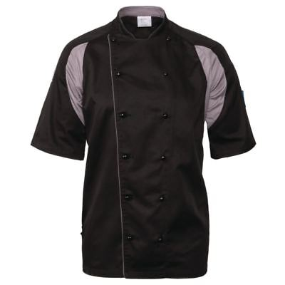 Le Chef Staycool Unisex Men Women Lightweight Jacket Short Sleeve Top Black