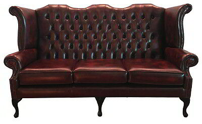 Chesterfield Queen Anne Three Seater Sofa Genuine Leather Antique Oxblood Red