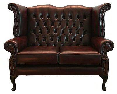Chesterfield Queen Anne Two Seater Sofa Genuine Leather Antique Oxblood Red