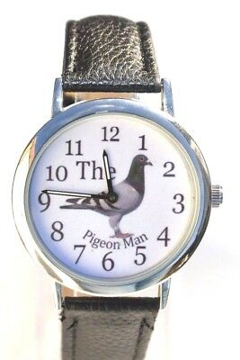 The Pigeon Man Racing Homing Pigeon Watch Superb Detail With Black Strap