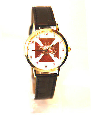 The Knights Templar Masonic Watch Superb Clear Coloured Detail With Black Strap