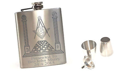 Personalised Masonic Hip Flask Drinking Set Special Offer With Free Engraving