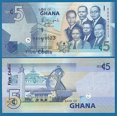 Ghana 5 Cedi P New 2015 UNC  Low Shipping! Combine FREE!