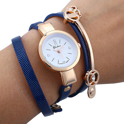 Women Long Slim Casual Crystal PU Leather Analog Quartz Dress Wrist Watch Gift
