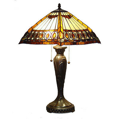 """Tiffany Style Stained Cut Glass Beige Amberjack Table Lamp 2 light 16"""" Shade"""