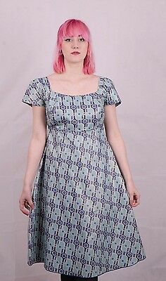 Vintage 1950's Blue  Dress Size 10 12  Medium Handmade Rockabilly Jive