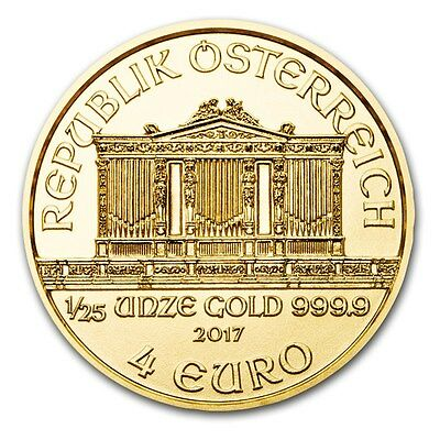 2017 Austrian Philharmonic 1/25 oz .9999 Gold BU Round Limited Bullion Coin