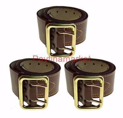 Soviet Military USSR Russian Belt Army Officer Brown Leather Uniform Buckle