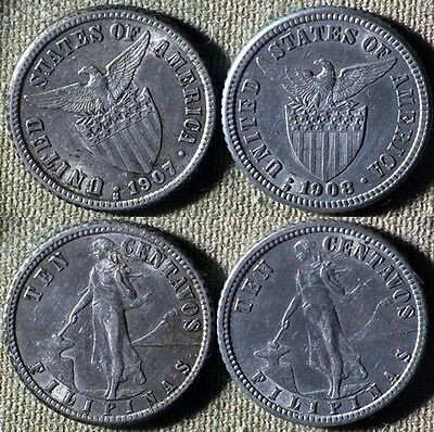 Philippines : Lot 2 Coins 10 Ct 1907S XF-AU;1908S CH.XF-AU Cleaned #169 IR4439